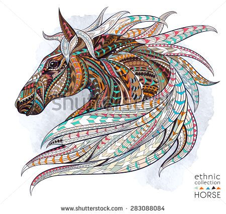 Patterned head of the horse on the grunge background. African / indian / totem / tattoo design. It may be used for design of a t-shirt, bag, postcard, a poster and so on. - stock vector