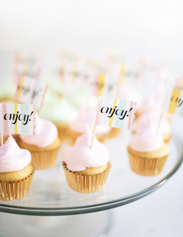 Watercolor Label Cupcake Toppers DIY