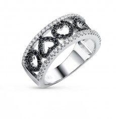 Кольцо, вставка:  фианит; фианит черный; Серебро 925 пробы. 30095