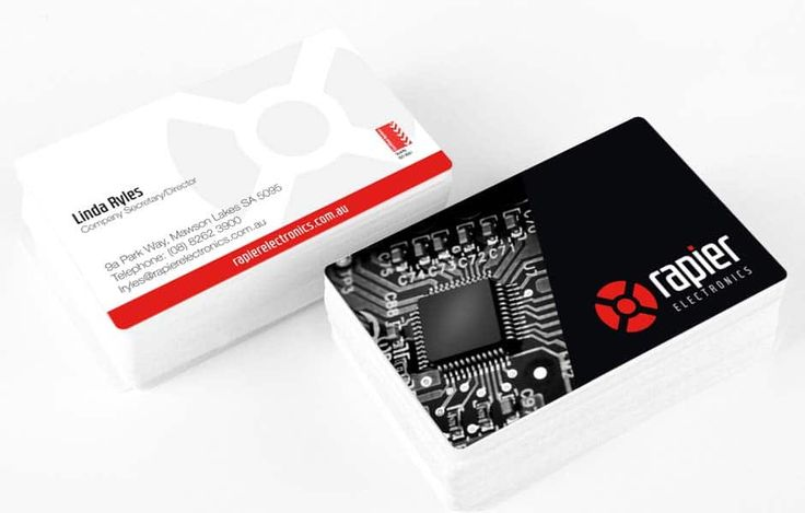 Icon Graphic Design Adelaide - Rapier Electronics business card design.