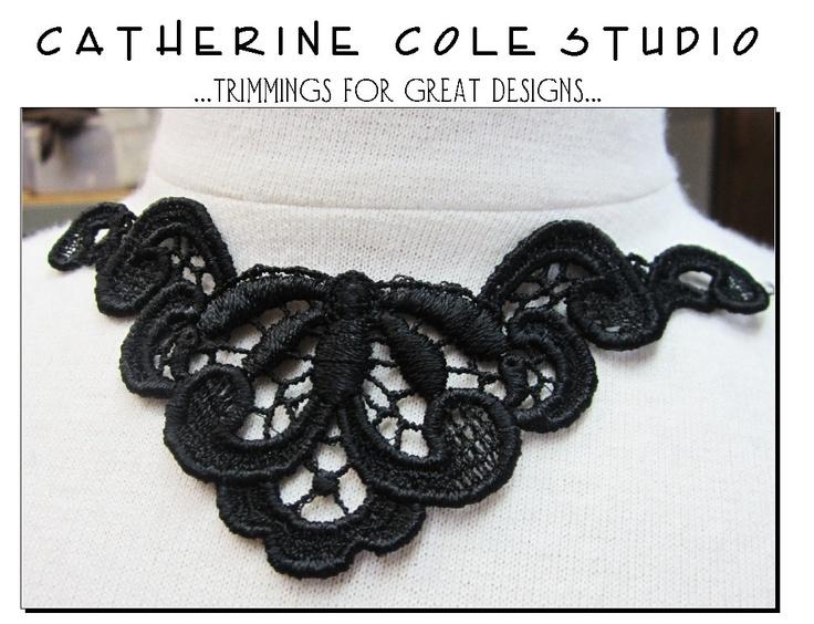2pce. venice lace yoke applique lace  trims noir black gothic wedding lingerie bridal lace trims venise lace Catherine Cole Studio. $3.00, via Etsy.