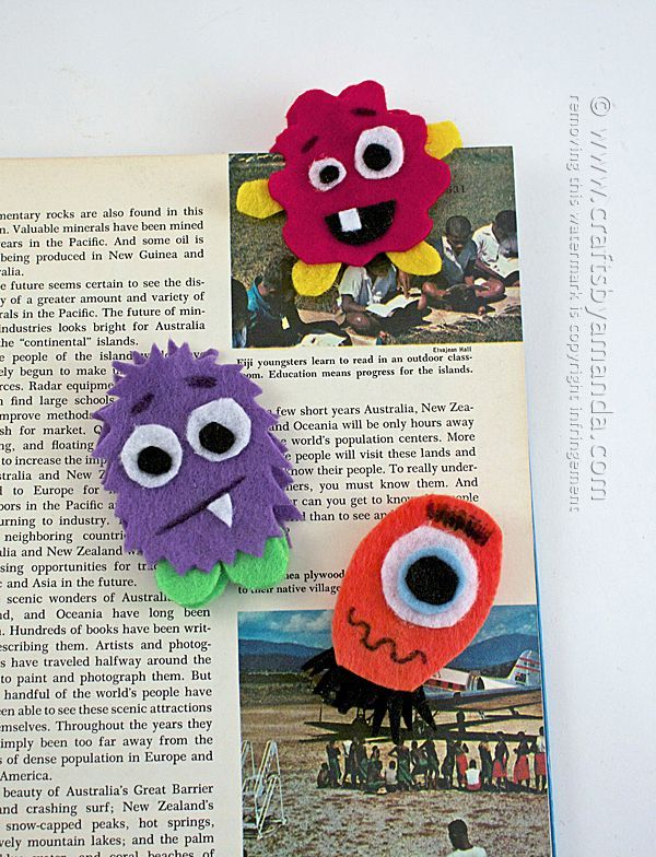 OH MY GOSH! Cutest bookmarks on the planet, must make these! - Monster Bookmarks | Crafts by Amanda