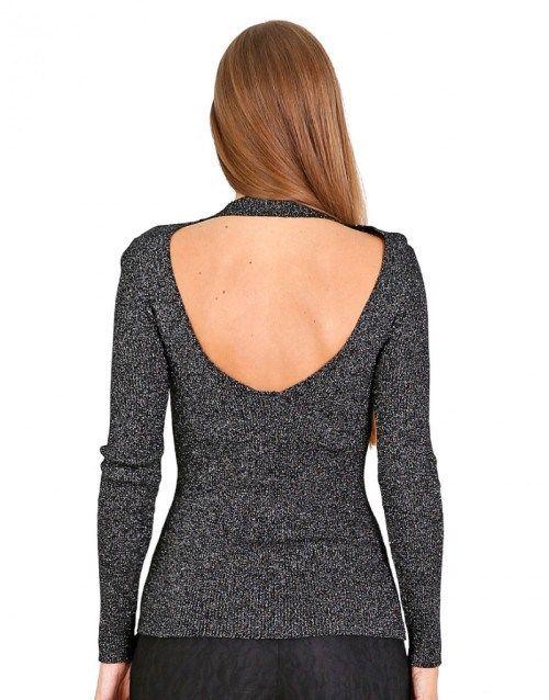 Μακρυμάνικη πλεκτή μπλούζα με ανοιχτή πλάτη