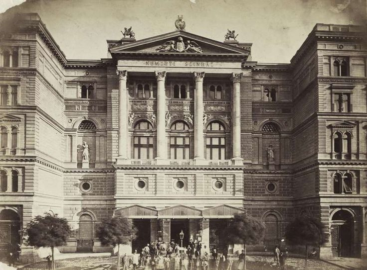 Rákóczi (Kerepesi) út 3., Nemzeti Színház. A felvétel 1880-1890 között készült. A kép forrását kérjük így adja meg: Fortepan / Budapest Főváros Levéltára. Levéltári jelzet: HU.BFL.XV.19.d.1.05.083