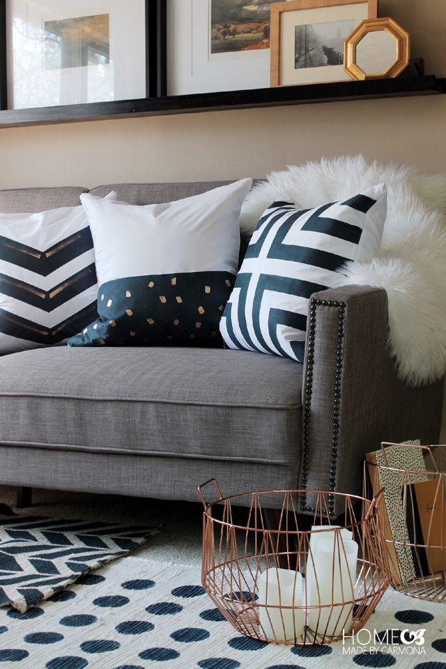 DIY Dark Navy Painted Pillows