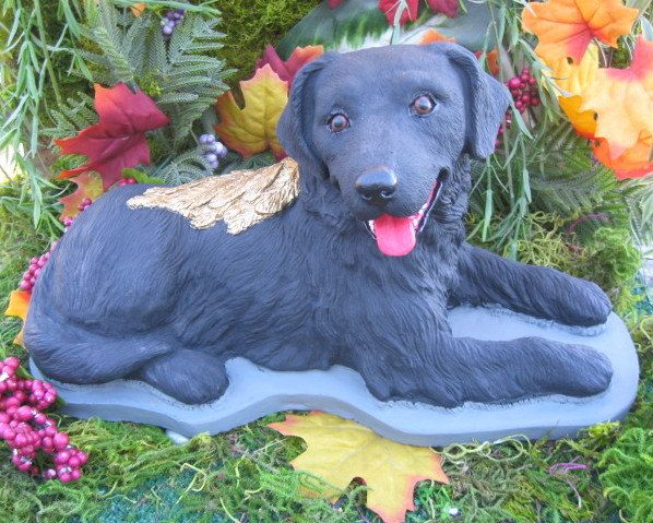 Black Labrador Angel Dog Statue Concrete Cement Lab, Memorial.Head Stone,  Pet Marker