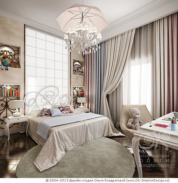 Нежно-розовые оттенки в дизайне детской комнаты для девочки  http://www.ok-interiordesign.ru/ph_dizain-detskoy-komnaty.php