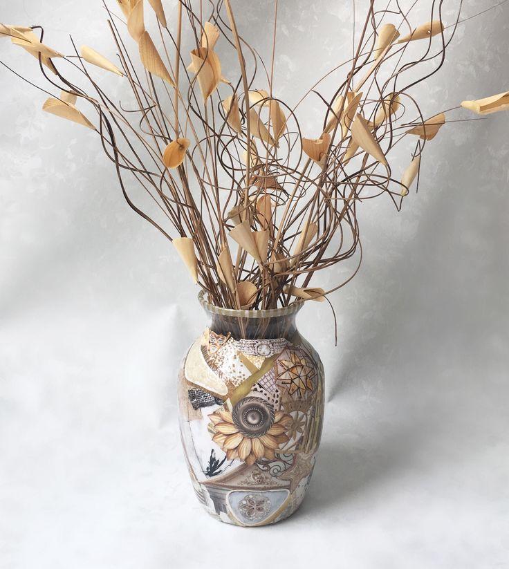 Gold and Cream Vase, Unique Vase, Decoupage Vase, Decorative Vase, Vase with Ting Ting, Contemporary Vase, Modern Vase, One-of-a-kind Vase by TheUpcycledArtShop on Etsy