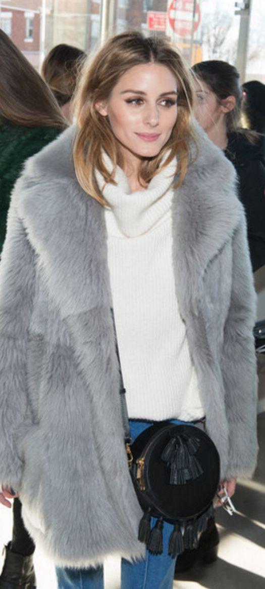 Who made Olivia Palermo's gray coat, black fringe handbag, and...