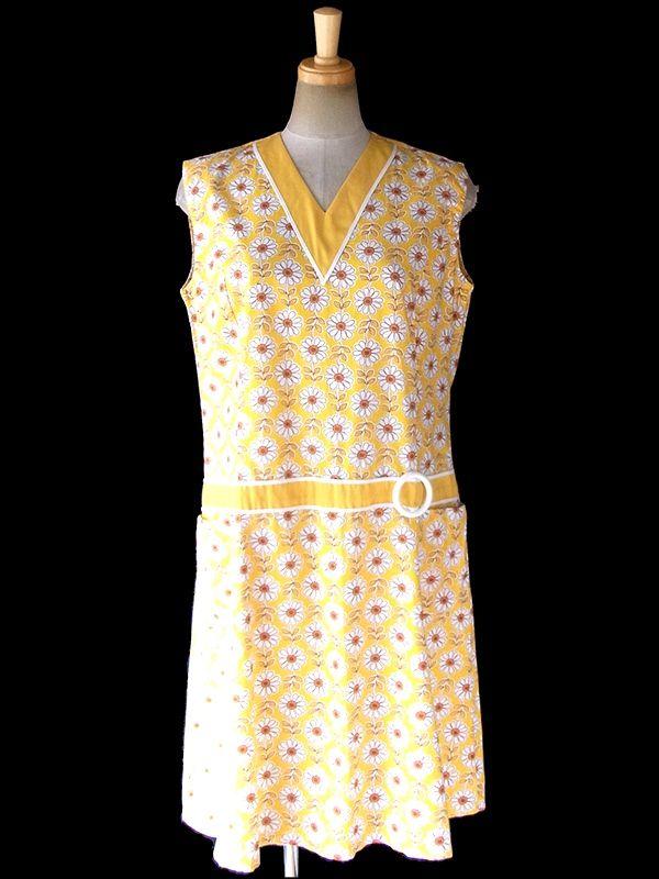 ヨーロッパ古着 ロンドン買い付け 60年代製 イエロー X マーガレット柄 ポケット付き レトロ ワンピース 17OM721