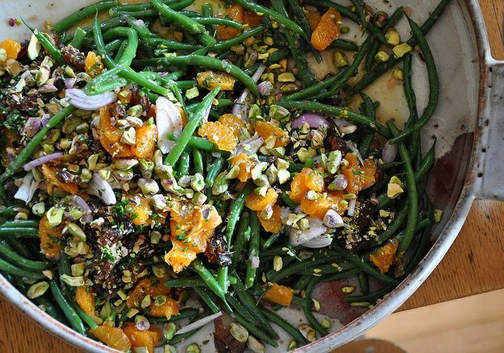 Warme bonen salade met mandarijnen, pistachenoten en dadels