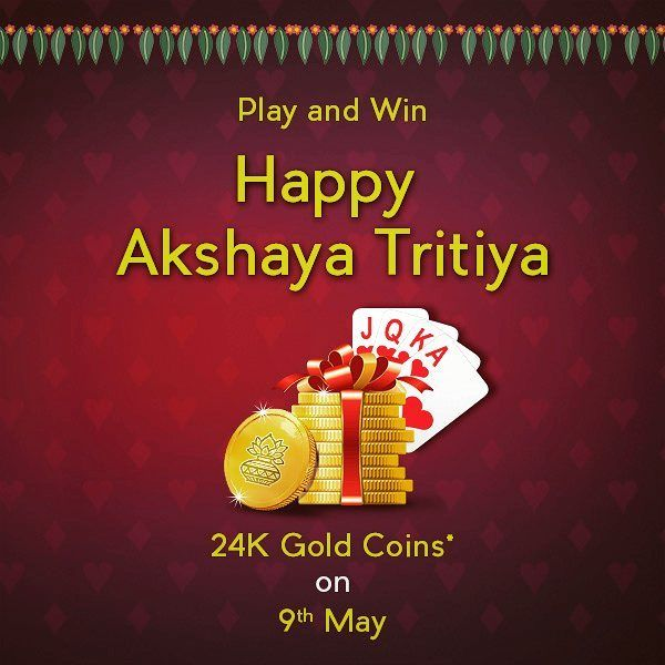 Happy #AkshayaTritiya to all from KhelPlayRummy.com  #PlayRummy #winprizes #goldcoins