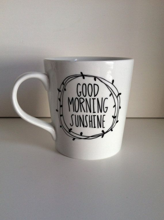 Start the day off right with sweet message.    This listing is for one white, high quality ceramic coffee mug with the words, Good Morning