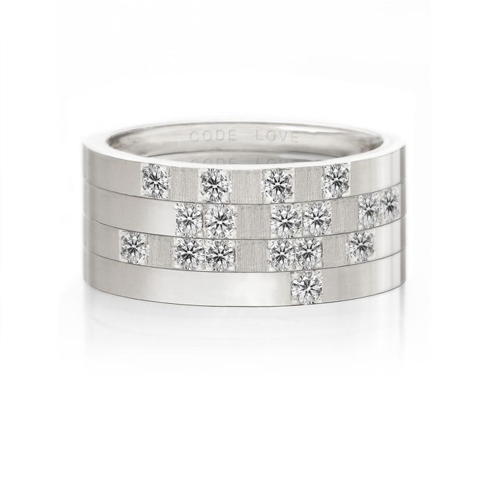 CODE LOVE 'HOPE' Morse Code Union Ring - These unique and beautiful Union Rings have been designed to stack. There are 26 rings in the collection each representing a letter of the English alphabet. Designed using brilliant cut diamonds set in either rose, yellow or white gold you can create whatever your heart desires! www.codelove.com.au