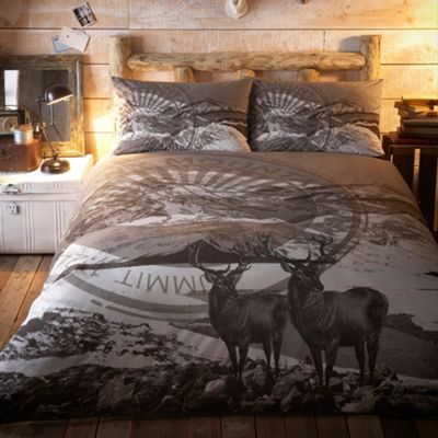 Home Collection Grey Snowy Mountain Print Duvet Set At Home Pinterest Home
