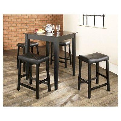 5 Piece Pub Dining Set with Tapered Leg and Upholstered Saddle Stools - Black Finish - Crosley