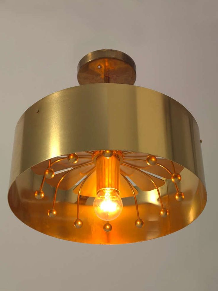 1960's Minimal Flushmount French Flower Shaped Brass Pendant  2
