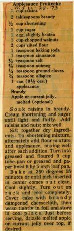 Applesauce Fruitcake :: Historic Recipe