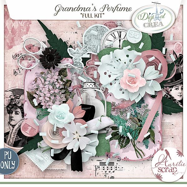 "Kit ""Grandma's Pefume"" by Aurélie Scrap.Because for me, my grandparents are just precious and here is my love for my grandma : Elisema. I love you Grandma.  Grandma's Pefume - digital scrapbooking kit by Aurelie Scrap. This vintage kit with these soft colors are perfect to document everyday moments & also vintage photos."