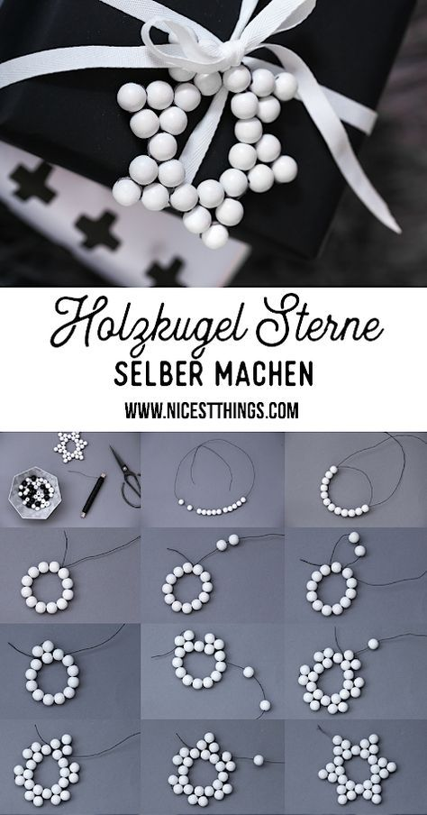 Holzkugel Sterne basteln & Schneeflocken Geschenkanhänger aus Bügelperlen / Hama Perlen
