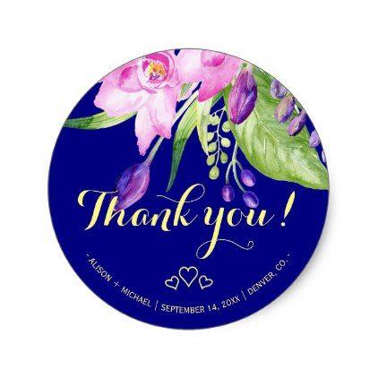 Bloemen de zomer bloemenhuwelijk van de pruim marine ronde sticker | Zazzle.com