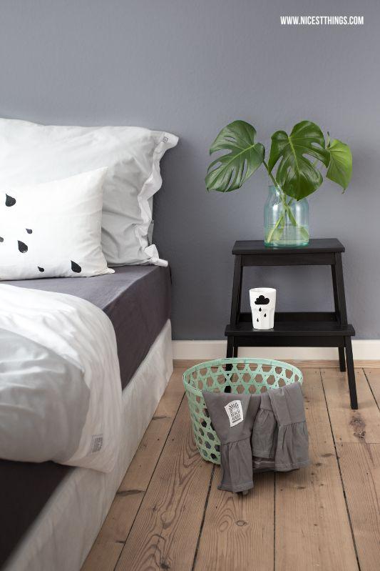 Bedroom Bedlinen White Grey Mint Monstera Beach House Ikea Cloud Raindrops Pillow