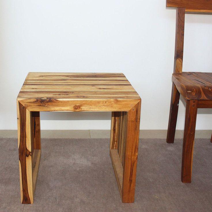 Haussmann Handmade India 19 X 19 X 18 Tung Oil Finish Teak C Table (Set Part 93