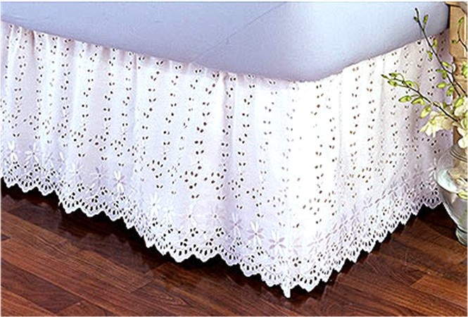 vintage lace bed skirts | Product: Hand Crochet Bedskirt Dust Ruffle Queen Size 18 drop
