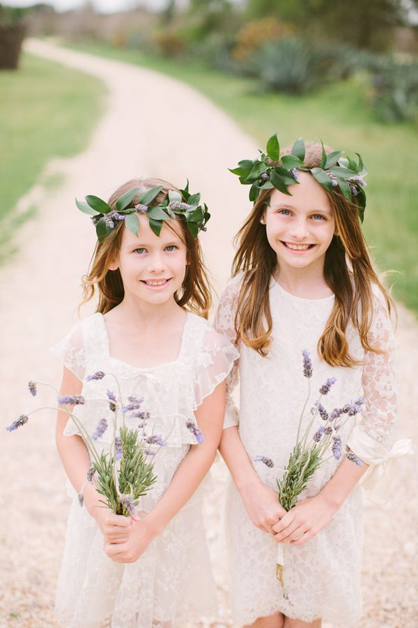 Sweet flower girls in lavender flower crowns Austin Le San Michele Wedding