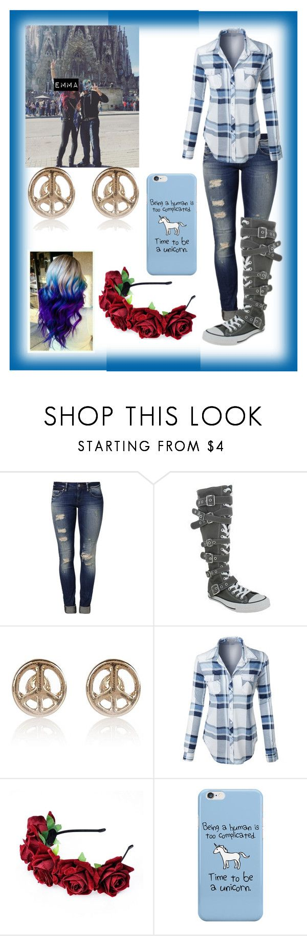 """""""Emma with her friend"""" by patrick-stump-lover ❤ liked on Polyvore featuring Mavi, Converse, River Island and LE3NO"""