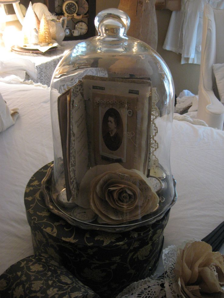 Glass Cloche with Handmade Journal and Rose | Flickr - Photo Sharing!