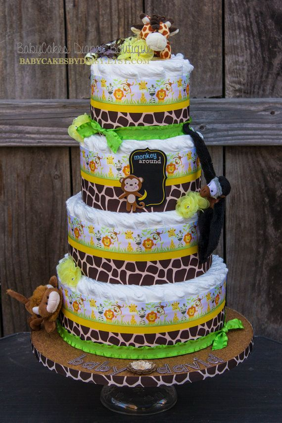 Safari Diaper Cake Jungle Diaper Cake Safari by BabyCakesByDaisy