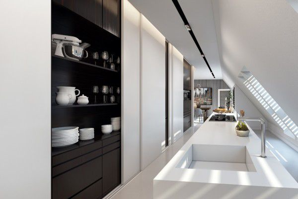 Seventeen Reasons To Love Open Kitchen Shelving | A system of sliding doors allows for a variety of styling options in this computer rendered kitchen by Ando Studio.