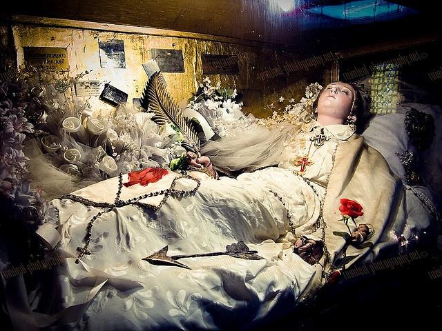 Incorruptible Saint Filomena aka Philomena (Daughter of Light) resting in a church in Lisboa aka Lisbon.