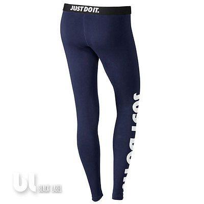 Nike Leg-A-See Just Do It Damen Sport Leggings Fitness Jogging Leggings Blau S