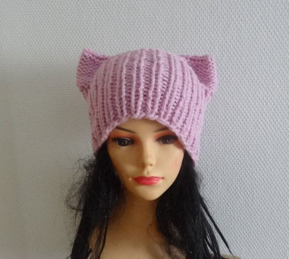 Blossom Pink Cat hatChunky  beanie Knit Winter hat by Ifonka