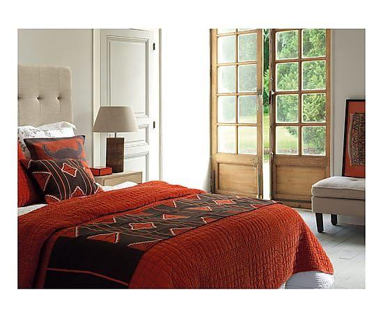 Trapunta in cotone marrone e arancione Parana - 200x50 cm