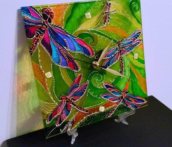 Glass Wall Clock Stained Glass Clock by InspirationsArtGlass