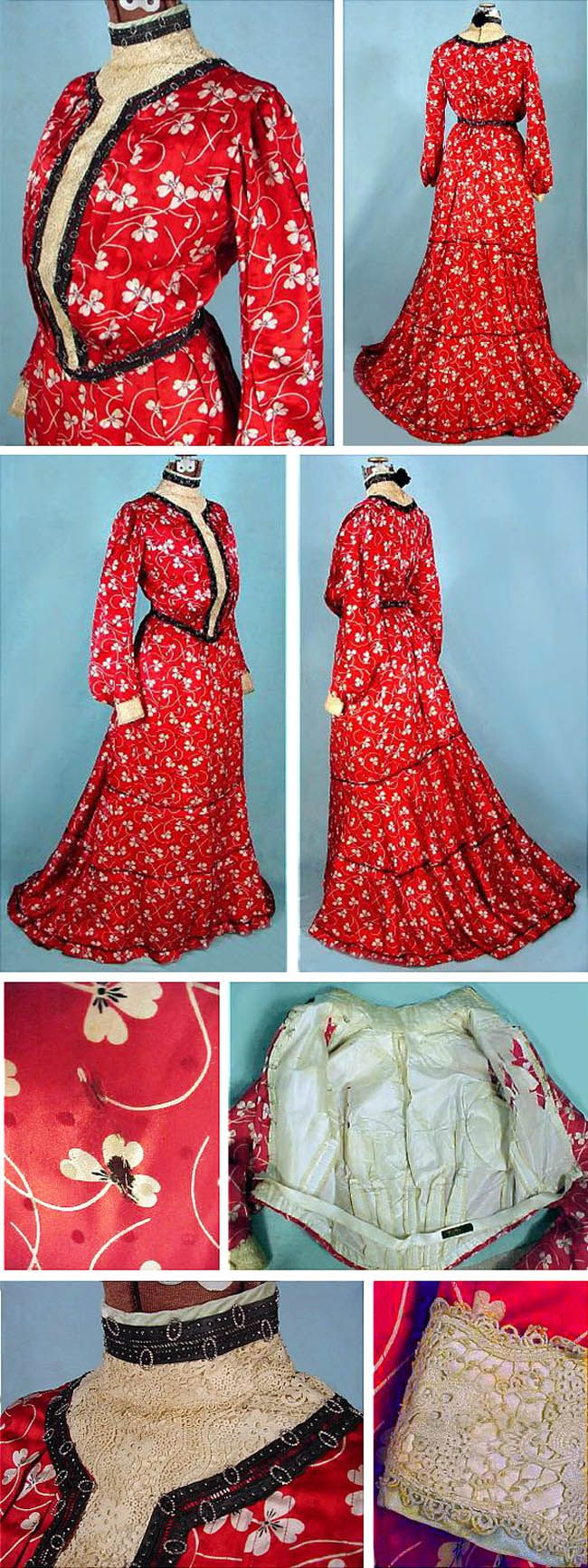 Two-piece afternoon dress, Cotter, Utica, NY, ca. 1902. Red & white patterned silk with steel-beaded black velvet trim. Irish crocheted bodice and cuffs. Antique Dress via The Wayback Machine