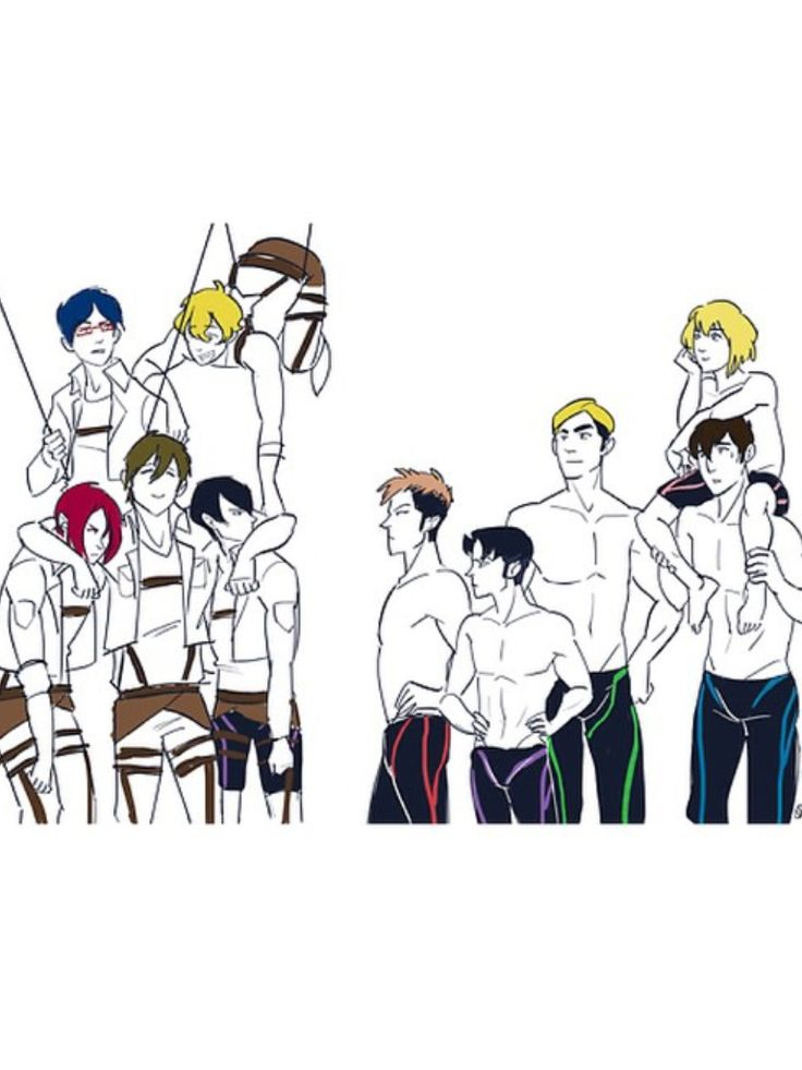 I LOVE THIS!!! FREE X SNK Rin, Rei, Nagisa, Makoto, and Haru.....Jean, Bertholdt, Armin, Erwin, and Levi. I love that Haru still has his swimsuit on underneath the 3dm gear. I love that the characters of SnK were picked from the parallel personalities of Free! Instead of the importance of their character...(noting that Eren isn't present) and that's most likely because no body has a personality similar to Eren's he is just that special and unique! <3