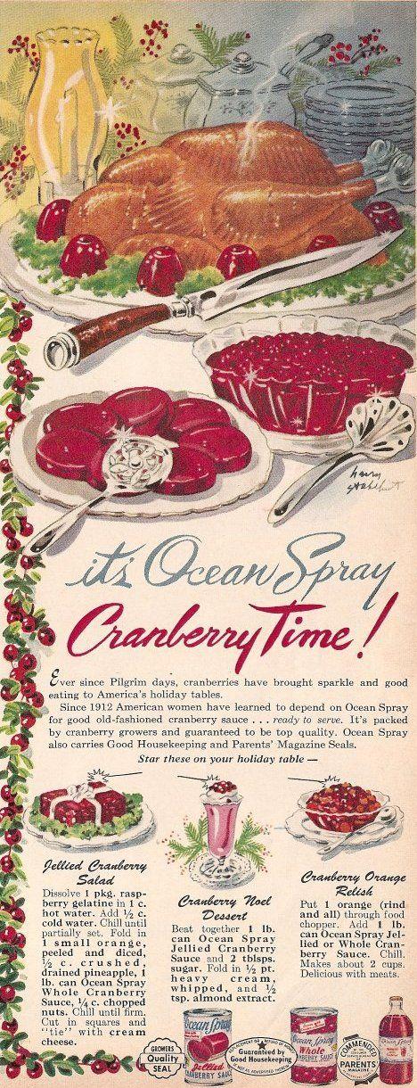 OceanSpray Cranberry Sauce Vintage Recipe Ad