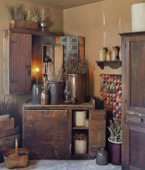 Primitives Home Decor: 17 Best Images About Prim Hutch, Mantel, Shelves