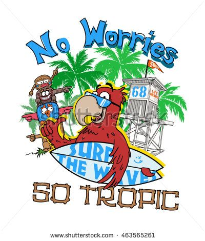 Vector Tropical illustration for print. Boy's wear. Vector cartoon Characters
