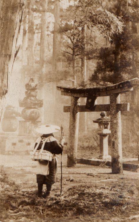 eyeharmheart-kipplebox: oldpostcard Japanese pilgrim arriving at a Shinto shrine. Likely late 19th century. Japan.