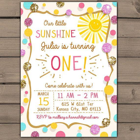 Sunshine Birthday Party Invite Sunshine Lemonade First
