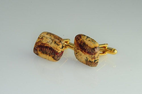 Man | Woman | Unisex | Stone Cufflinks - Agatized Horn Coral Great Pattern