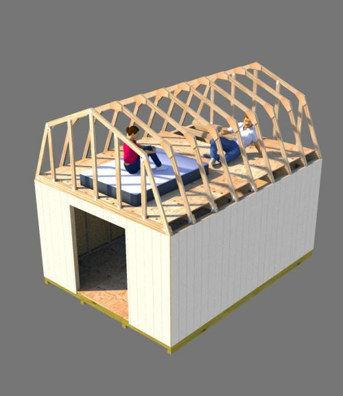 The possibilities are endless when you build this 12x16 barn shed with huge loft.  A small cabin or tiny house is totally possible!  The trusses can be modified to get more headroom up in the loft area for even more storage and headroom.