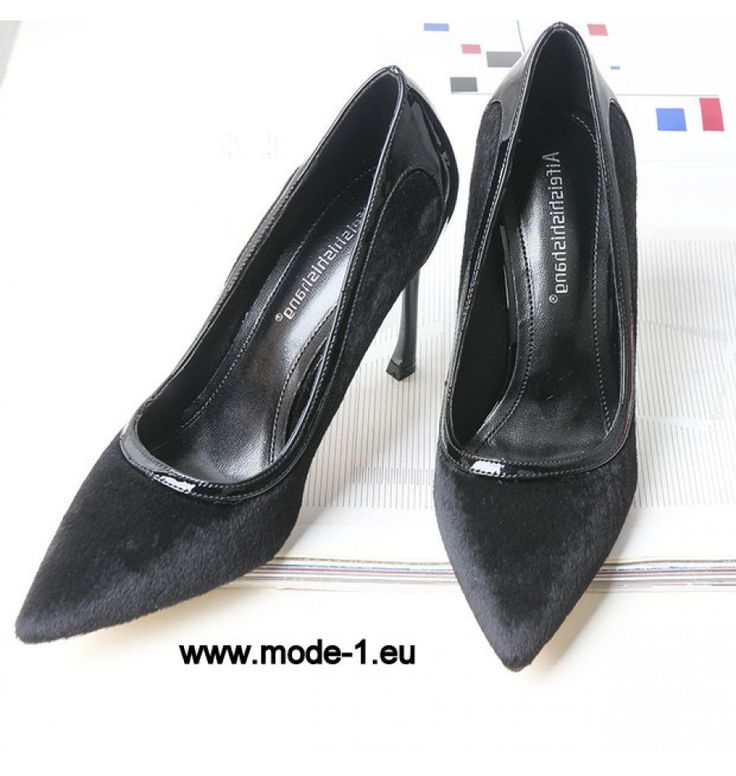 Neu Design Patchwork Spitzschuh Stiletto Pumps in Schwarz