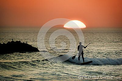 Paddle Board Surfer At Sunset - Download From Over 25 Million High Quality Stock Photos, Images, Vectors. Sign up for FREE today. Image: 43453265