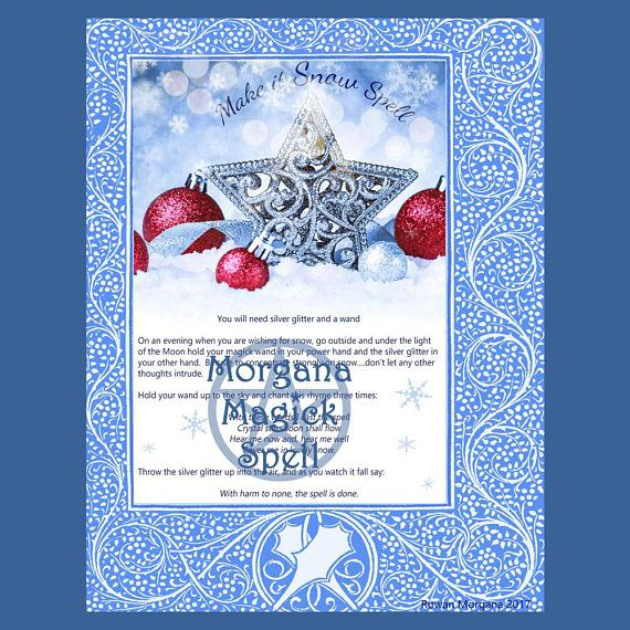 Make It Snow Spell Printable Page For Book Of Shadows How To Make Snow Book Of Shadows Witchcraft Spell Books